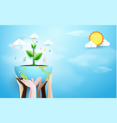 Hands holding globe with plant and rain background vector