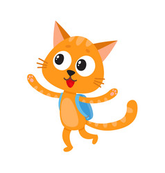 Happy cat kitten student character with backpack vector