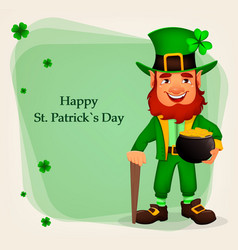 Happy saint patricks day funny leprechaun vector