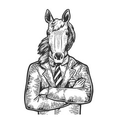 horse businessman sketch engraving vector image