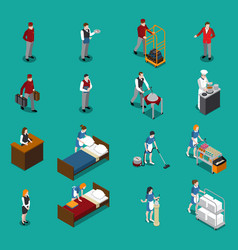 Hotel staff isometric set vector