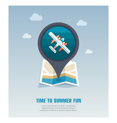 Hydroplane pin map icon summer vacation vector