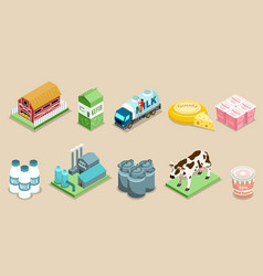 Isometric dairy factory elements set vector