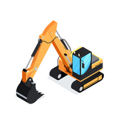 isometric excavator isolated on white background vector image