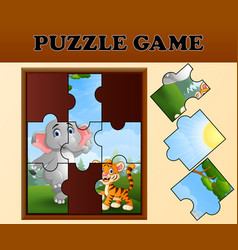 Jigsaw puzzle game with happy wild animals vector