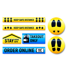 Keep distance and stay home stickers and markers vector