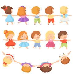 kids standing together holding hands set cute vector image