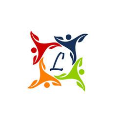 Leaf people health together letter l vector