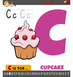 Letter c from alphabet with cartoon cupcake food vector