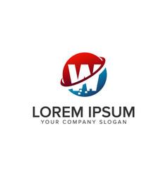 letter w pixel logo design concept template vector image