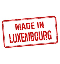 made in Luxembourg red square isolated stamp vector image