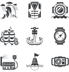 Marine black icons vector