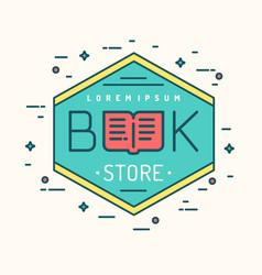 Modern line logo bookstore vector