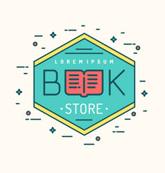 Modern line logo of the bookstore vector