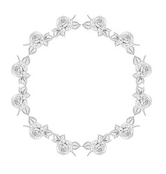 monochrome round floral frame from roses trendy vector image
