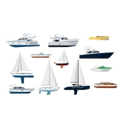 Motor boat and sailboat set vector image