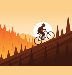 Mountain bike climbing scene vector
