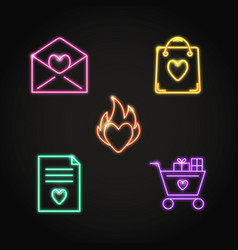neon valentine day icon set in line style vector image