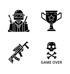 Online game inventory glyph icons set esports vector