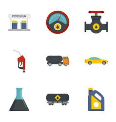 petrol transport icon set flat style vector image
