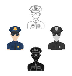 Police officer icon in cartoonblack style vector