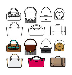 purses and bags flat design line and color vector image