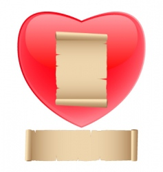 red heart with old paper vector image