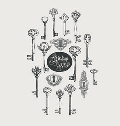 retro banner with vintage keys and keyholes vector image