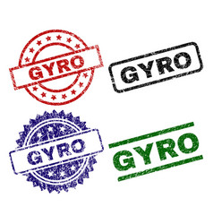Scratched textured gyro seal stamps vector