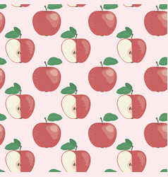 seamless pattern with red apple in flat style vector image
