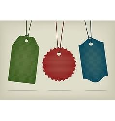 set blank textured hanging pricing tags vector image