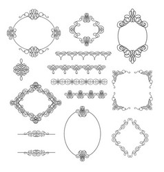 Set collection borders frames dividers in vector