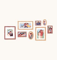 set family photo portraits in frames memorable vector image