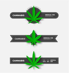 Set medical cannabis badges with dark ribbons vector