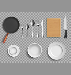 set of ceramic plates and kitchen utensils vector image