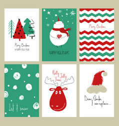 set of funny christmas cards vector image