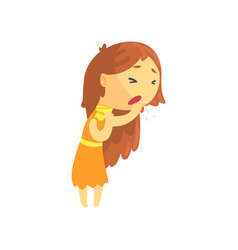 Sick girl with long hair coughing unwell teen vector