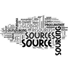 Sources word cloud concept vector
