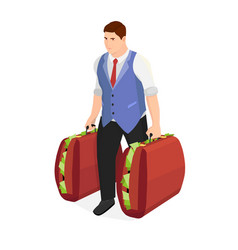 successful businessman with two suitcases of money vector image