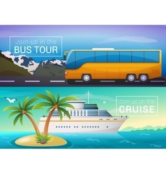 travel banners set Bus tour to Alps vector image