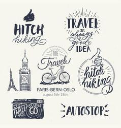 Travel set icons handwritten lettering label vector
