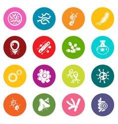 virus bacteria icons set colorful circles vector image