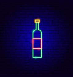 Wine bottle neon sign vector