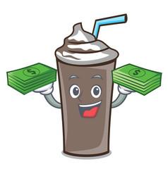 With money bag ice chocolate mascot cartoon vector