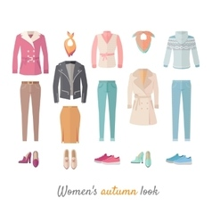Women s Autumn Look Concept in Flat Design vector