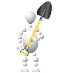 Workman with spade vector