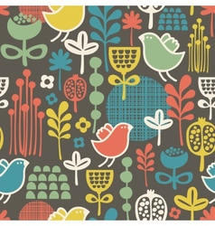Beautiful seamless pattern with cute birds vector image vector image