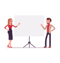 businessman and businesswoman at the presentation vector image vector image