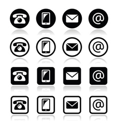 Contact icons in circle and square set - mobile vector image