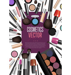 cosmetic products assortment realism banner vector image